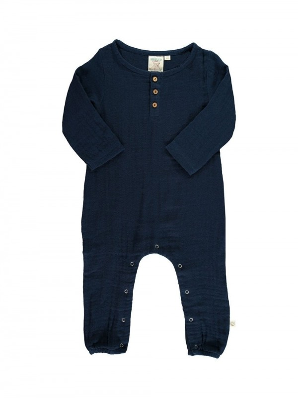 Organic Cotton Jumpsuit-Basic Navy blue