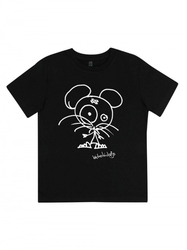 Organic Cotton T-shirt-Little Mouse Black