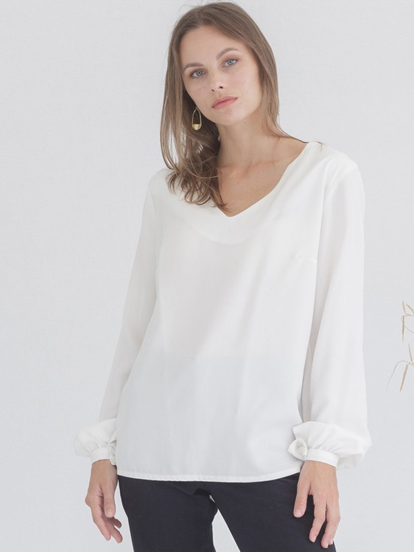 White Tencel-Frosted Long Sleeve Blouse