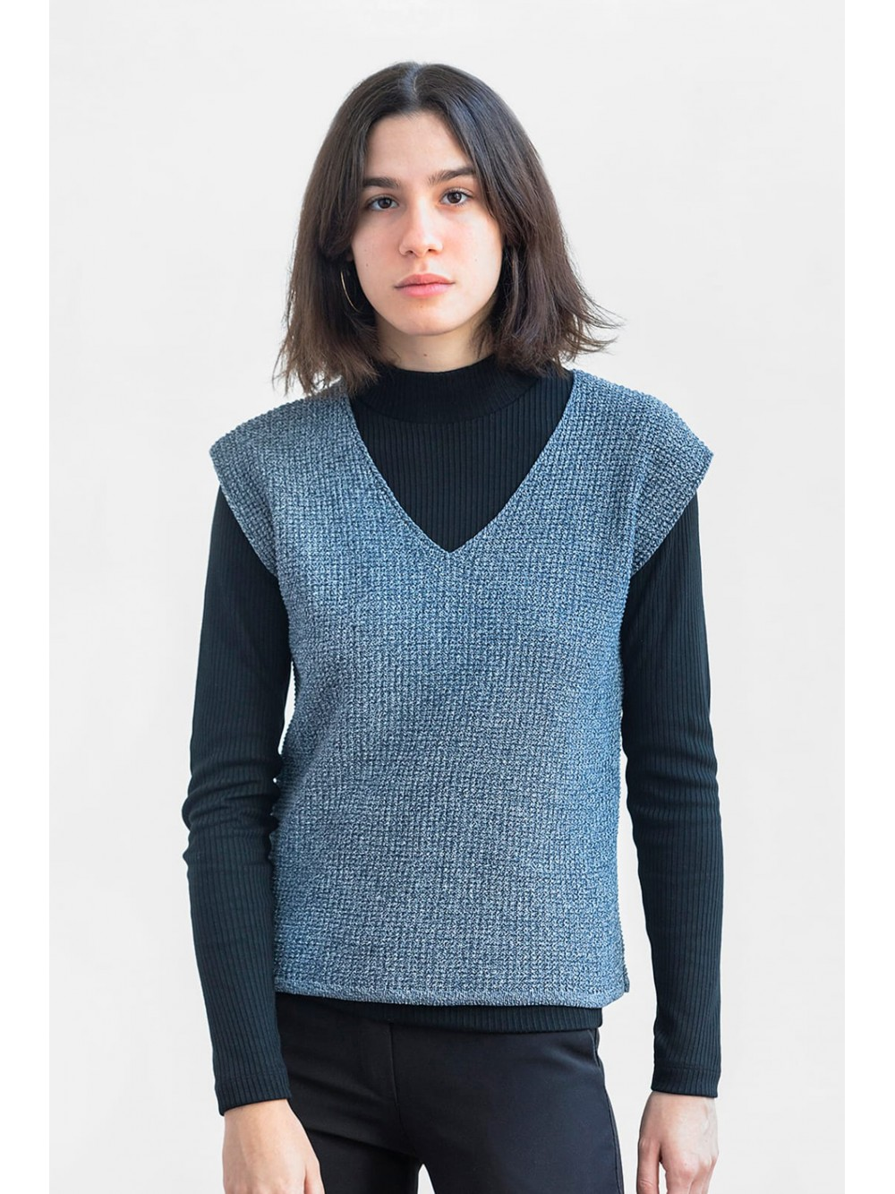 Recycled cotton tricot vest-Mouline