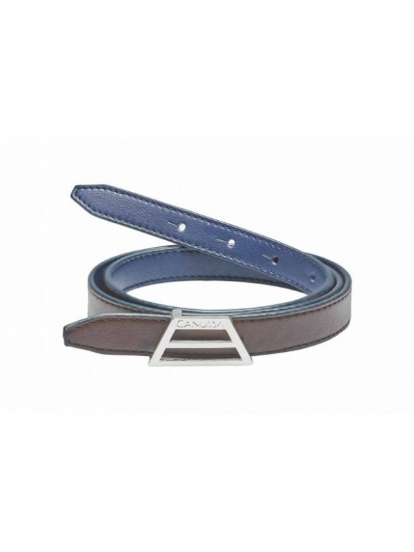 Blue and brown eco vegan leather belt