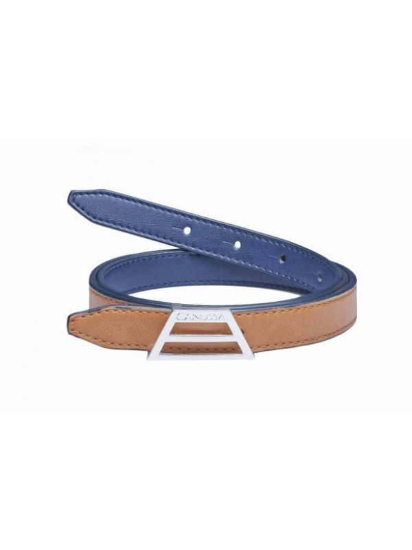 Black and red eco vegan leather belt