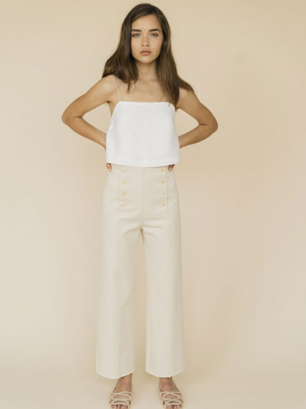 Organic cotton high waist trousers-Olympe