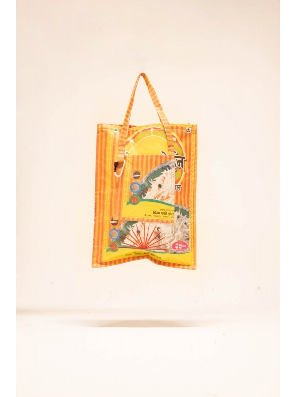 Bag made from recovered rice bags