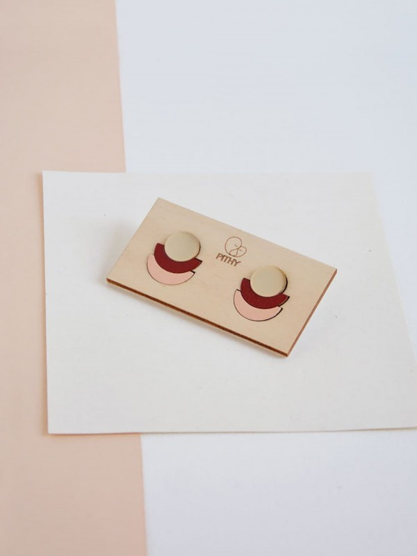 Handcrafted painted wood earrings