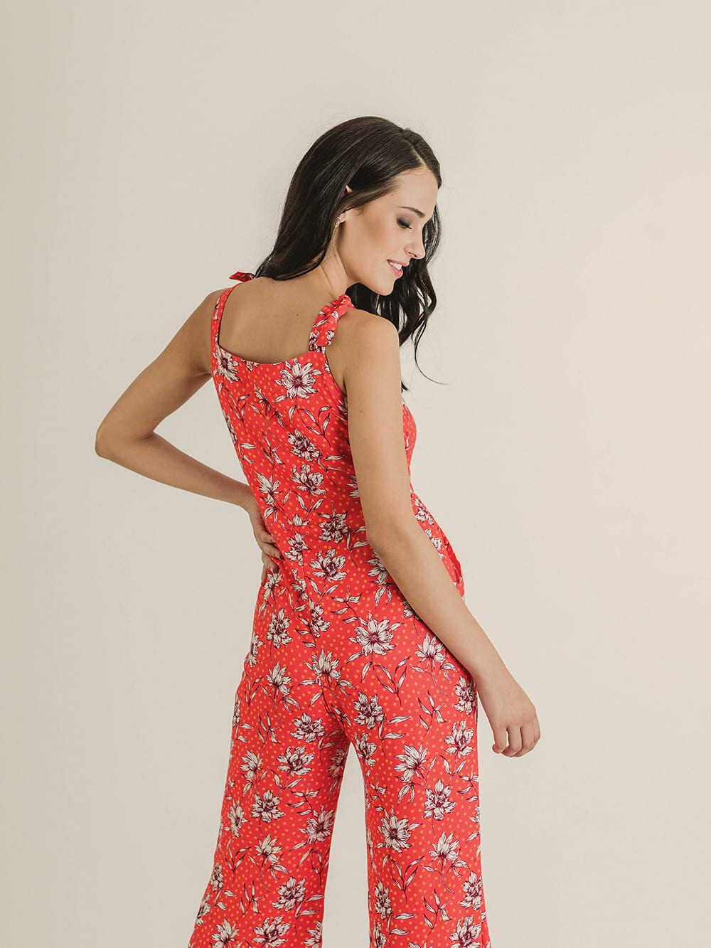 Ecovero-Shirley floral suspender jumpsuit