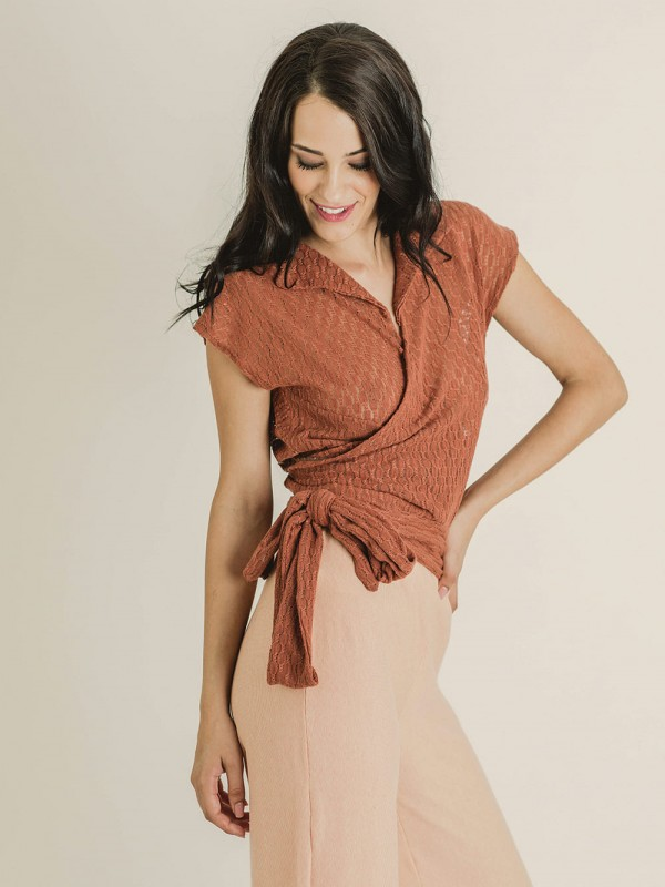 Recycled polyester knotted waist top-Margot