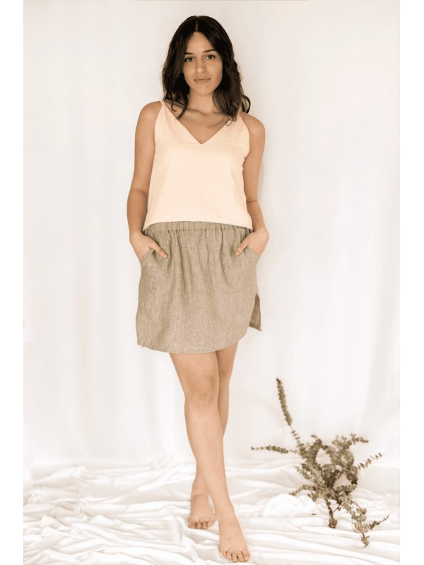 Organic linen skirt made in Barcelona-Sayumi