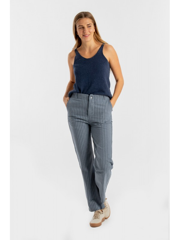 Straight Lyocell Pants-Stripes 3019 CO2
