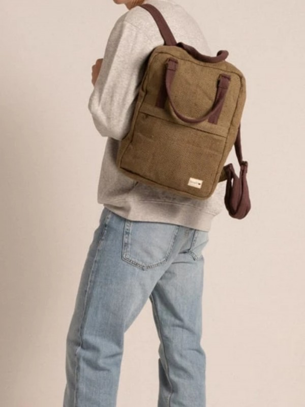 Square backpack made of sustainable hemp natural dyes-Gokyo