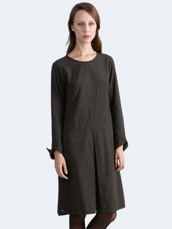 Organic cotton dress with central fold